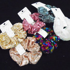 Lg Size 6 Color Sequin Scrungi's 12 per pack .54 each