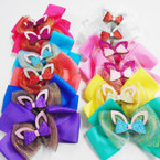 "6"" Layered Gator Clip Bow w/ Sparkle Bow & Cat Ears .56 each"