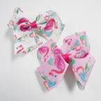 "4"" Flamingo Theme Gator Clip Bows 24 per pack .27 each"
