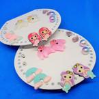 Cute 6 Pair Mermaid Theme Kid's Earrings .52 per set