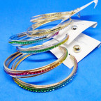 "2.5"" Gold & Silver Crystal Stone Hoop Earring Clear & Multi Colors .54 ea"