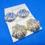 Gold & Silver Cast Sea Shell Earrings w/ AB Crystal Stones  .54 ea
