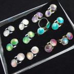 Gold & Silver Mermaid Scale Adjustable Rings Asst Colors 24 per bx .27 each