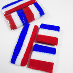 3 Pack Sweatband & Wristband Set Red,White,Blue .56 per set
