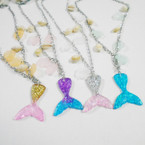 "24"" Mermaid Theme Silver Chain Necklace w/ Shells .58 each"