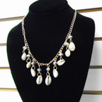 "18"" Gold Chain Necklace w/ Crystal Beads & Cowrie Shells .56 ea"