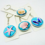 Best Quality Sea Shell Theme DBL Sided Glass Keychains .54 each