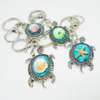 Best Quality Silver Turtle w/Sea Shell Theme Inlay Keychains .54 each