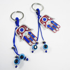 "2"" Colorful Hamsa Keychains w/ Dangle Blue Eye Beads .54 ea"