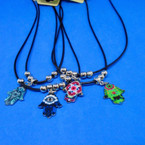 Black Cord Necklace w/ Colorful Hamsa Pendant .50 ea