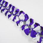 """3.5-4"""" Two Tone White/Purple Color Gator Clip Fashion Bow .27 ea"""