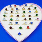 Kid's Adjustable Crystal Stone Birthstone Rings 36 per bx .25 each