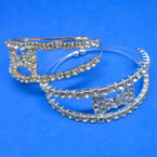 2 Line Gold & Silver Rhinestone Fashion Cuff Wire Bangles .54 each