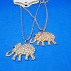 """18"""" Fancy Gold/Silver Chain Necklace w/ 2"""" Crystal Stone Elephant .54 each"""
