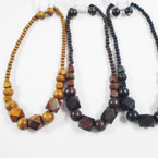 "3 Color 18"" Wood Beaded Fashion Necklace Set .54 per set"