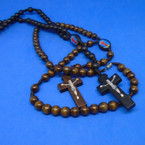 "30"" Wood Bead Rosary w/ Angel & Cross w/ Jesus .54 each"