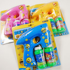 """5.5"""" x 6"""" Bubble Gun w/ Flashing Lights & Sound EMOJI Theme  sold by pc  $3.25 each"""