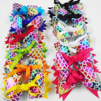 "5"" Metallic Rainbow Mermaid Scale Ribbon Gator Clip Bows Bright Colors  .54 each"