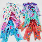 "6"" X 6"" 2 Layer Tail Gator Clip Bows w/ Mermaid Theme .54 each"