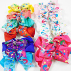 "5"" X 4"" 2 Layer Tail Gator Clip Bows w/ Mermaid Theme & Crystal Stones  .54 each"