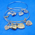 Heart Theme Gold & Silver Cuff Wire Bangle Bracelets  .54 each