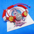 Guadalupe  Theme Red Macrame Bracelets w/ Silver Cross .54 each
