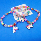 Multi Color Fimo Disc/ Crystal Bead Bracelet w/ Unicorn Charm .54 ea
