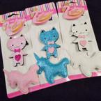 3 Pack Glitter Unicorn & Animal Theme Gator Clip Bows .56 per set