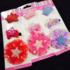 3 Pack Glitter Crown & Star Theme Gator Clip Bows .56 per set