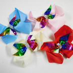 "4.5"" Gator Clip Bow w/ Metallic Rainbow Mermaid Bow & Crystals 24 per pk .37 each"