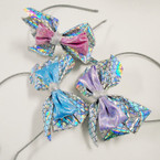 "2 Layer Headbands 5"" Silver Mermaid Scale & Metallic Bow .56 each"
