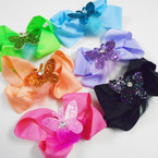 "5"" Gator Clip Bows w/ Sparkle Butterfly & Fur 24 per pack .35 each"