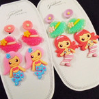 Cute 3 Pair Mermaid Theme Earrings As Shown .52 per set