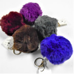 "4"" Fall Color Big & Fluffy Faux Fur Ball Keychains .60 each"