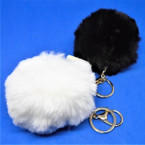 "4"" Black & White Color Big & Fluffy Faux Fur Ball Keychains .60 each"