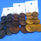 "3.5"" Wood Tone Color Wood 4 Part  Fashion Earrings .52 each"