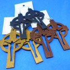"3"" Wood Tone Color Wood Earrings Cross w/ Jesus  .52 each"