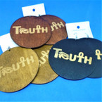 "3"" Wood Tone Color Wood Earrings TRUTH   .52 each"