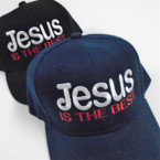 Jesus is the Best Embroidered Baseball Caps Blk/Navy  12 per pk $ 2.50 each