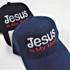 Jesus is My Boss Embroidered Baseball Caps Blk/Navy  12 per pk $ 2.50 each