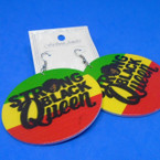 "2.5"" Rasta Color Wood Earrings Strong Black Queen    .52 each"