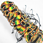3 Strand Teen Leather Bracelets w/ Rasta Theme .54 ea