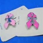 "1.5"" Cast Pink Ribbon Broach w/ Silver Angel 2 colors .54 each"