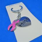 Beautiful Silver Hope Heart  & Pink Ribbon Cast Metal Keychains .54 ea