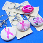 DBL Sided Glass Keychains w/ Asst Style Pink Ribbon Themes .56 each