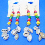 "3"" Rasta Color Bead & Crystal Earrings w/ Dangle Cowrie Shells .54 ea"