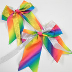 "6"" X 6"" Tail Gator Clip Bows Rainbow w/ Gold/Silver Ribbon .54 each"