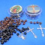 "Best Quality Heavy Scent 36"" Wood Bead Rosary w/ Cross in Case .62 each"