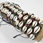 Rasta Color Cord Leather Bracelets w/ Cowrie Shells .54 ea