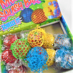 "2.5"" Colored Mesh Squishy Balls w/ Multi Color Beads 12 per display bx .56 ea"